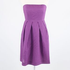 Purple J. CREW strapless dress 6